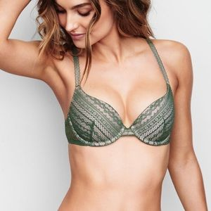 Victoria's Secret Green Lace Lined Demi Bra 32C